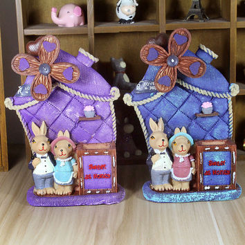 Birthday Gifts Decoration Cartoons Resin England Style Rabbit Music Box Home Decor [6282378118]
