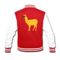Funny llama with sunglasses and mustache Jacken & Westen Collegejacke | Spreadshirt | ID: 27598053