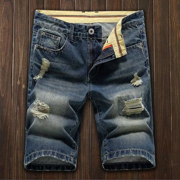 Denim Summer Men Slim Ripped Holes Pants Shorts [10605325635]