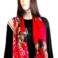 Red Scarf - Scarves For Women, Fashion Scarves, Pashmina Scarf, Silk Scarf