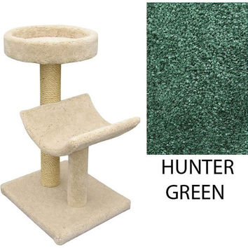 "Two  Level Cat House -Cradle & Perch -Hunter Green (Hunter Green) (37""H x 26""W x 20""D)"