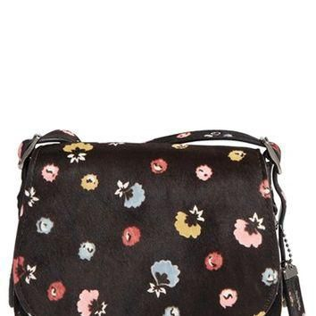 COACH '23' Flower Print Genuine Calf Hair Saddle Bag | Nordstrom