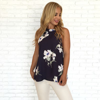 Wild Bloom Open Back Blouse
