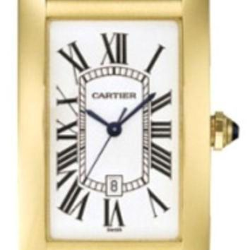 VLX9RV Cartier Tank Americaine 18k Yellow Gold Mens Watch W2603156