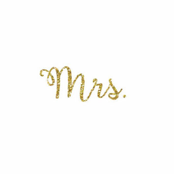 Mrs. Iron-On Vinyl Heat Transfer - Glitter Iron-On - 5 Colors -  DIY Bridal Shirt - Glitter Mrs. Decal - DIY Bridal Shower Shirt