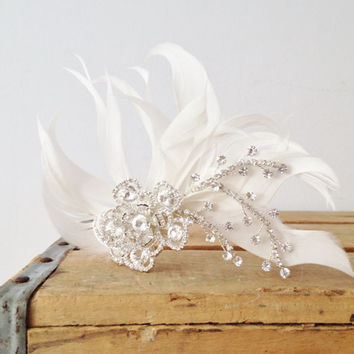 Wedding Hair Clip - White Feathers and Rhinestones