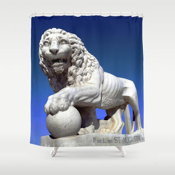 Lion Shower Curtain, King of the Jungle, Cat Bathroom Decor, St Augustine, Big Cat, Gray Mane courage Statue Sculpture Aslan Blue Narnia art