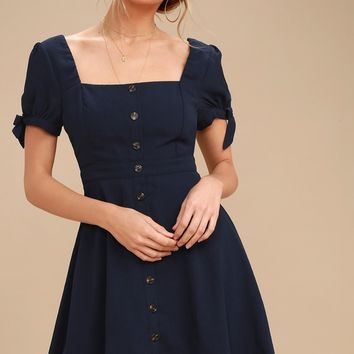 Chances Are Navy Blue Skater Dress