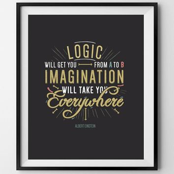 IMAGINATION. Motivational poster.Einstein poster