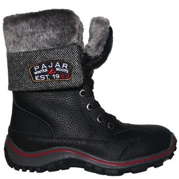 ONETOW Pajar Alice - Waterproof Black/Grey Leather/Wool Calf-High Pile-Lined Winter Boot