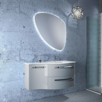 LaToscana Ambra 43 in. Wall Mounted Bathroom Vanity Left Concave Cabinet Set Bath Furniture
