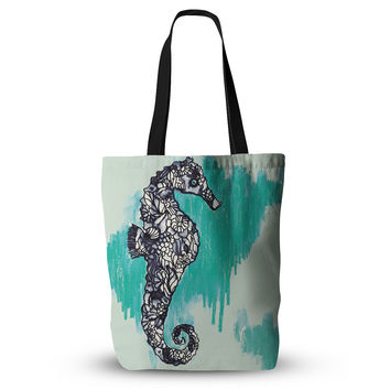 "Sonal Nathwani ""Seahorse"" Green Aqua Everything Tote Bag"