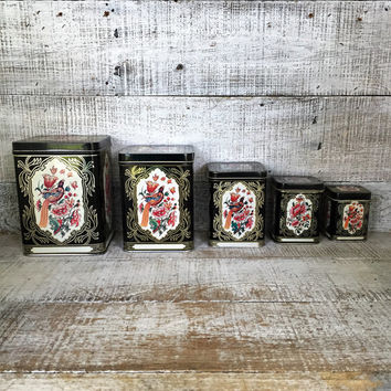 Vintage Tin Canisters Set 5 Tins Nesting Tins Lidded Containers Vintage Storage Containers Kitchen Tin Canister Set Floral Pattern Tins