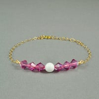 White Jade and SWAROVSKI Crystal Beaded Bracelet, 14K Gold Fill Chain, Beautiful Bracelet