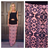 Hot in the Act Maxi Skirt- Neon Coral