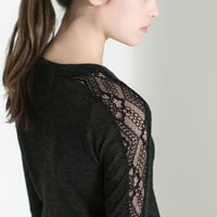 FINE KNIT SWEATER WITH LACE SLEEVES - Trf - T - shirts - WOMAN   ZARA United States