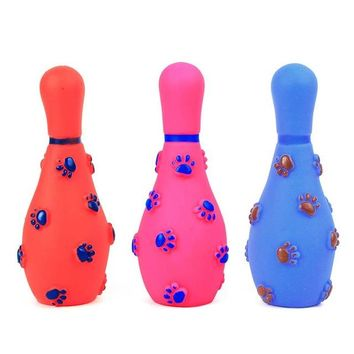 Family Friends party Board game Cute bowling pet dog cat Sound toy dog squeakers squeaky toy healthy rubber Chihuahua dog chew ball paly toy for Small dog AT_41_3