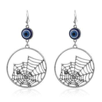 DoreenBeads Halloween Evil Eye Round Spider Web Pendants Earrings Hollow Antique Silver Color Fashion Women Girl Jewelry 1 Pair