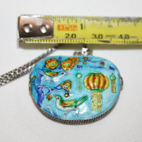 Sterling Chinese Enamel Locket Pendant Necklace 1940s Jewelry