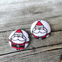 Santa Button Earrings, White Earrings, Christmas Earrings, Xmas Earrings, Fabric Earrings, Button Earrings, Post Earrings, Holiday