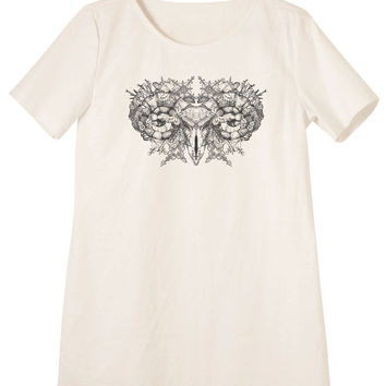 Women Aries skull with horns Printed Linen Vintage Mini Shift Dress WDS_06
