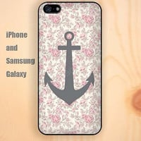 Anchor flowers pink iphone 6 6 plus iPhone 5 5S 5C case Samsung S3,S4,S5 case Ipod Silicone plastic Phone cover Waterproof