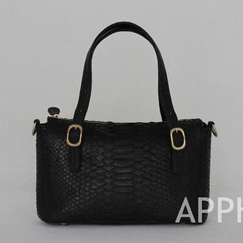 Zinnia Genuine Exotic Python Leather Handbag in Black Color