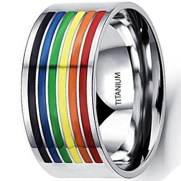 CERTIFIED 10mm Titanium Stainless Steel Rainbow White Gold Wedding Engagement Band LGBT Pride Ring