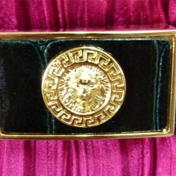 DCCK8X2 Vintage Lion Head Versace inspired Black Genuine Leather Unisex Belt Gold Tone Buckle