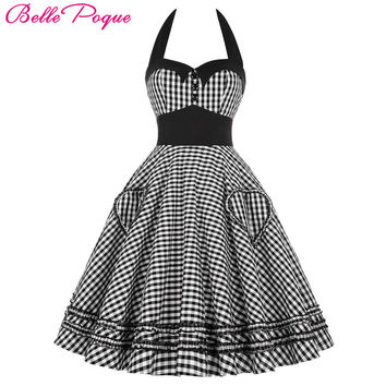Belle Poque Summer Dress Plus   Clothing  Retro Swing Gown Pin up Plaid Robe Vintage 60s 50s Rockabilly Dresses