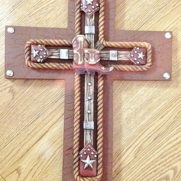 30%off SALE WESTERN Boot Cross Decor