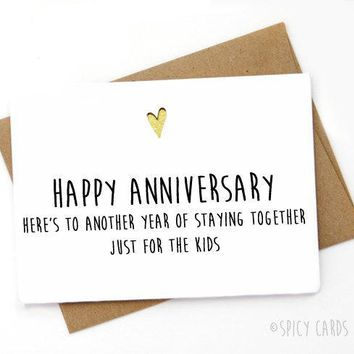 To Another Year Of Staying Together Just For The Kids Funny Anniversary Card Valentines Day Card FREE SHIPPING