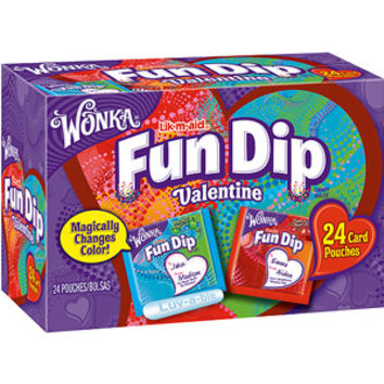 Walmart: Wonka: 24 Lik-M-Aid Fun Dip Valentines Cherry Yum Diddly Dip And Razzapple Magic Dip Candy Pouches, 12 oz