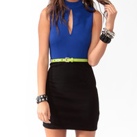 Neon Trimmed Bodycon Dress w/ Belt