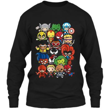 Marvel Heroes And Villains Team Kawaii Graphic  LS Ultra Cotton Tshirt