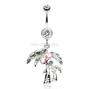 Summer Bliss Palm Tree Belly Button Ring (Clear)