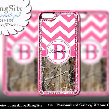 Monogram Hot Pink iPhone 5 5C Case Camo Chevron Name Bling Rhinestone Metallic Look real tree Case Cover Country Southern Girl