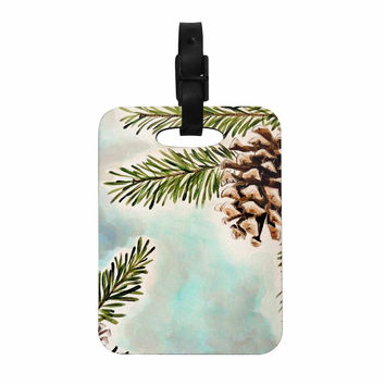 "Christen Treat ""Pinecones and Sky"" Blue Brown Decorative Luggage Tag"