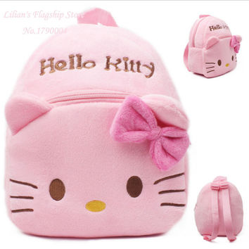 Top Quality  Pink Hello Kitty Plush Cartoon Toy Children Backpack School Bag Gift For Kids Age 1-2 Mochila Infantil