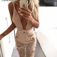 2016 Women backless Vestido De Festa Sexy Club Sequined Night Bandage Dress Lady Slim Evening Party V Neck Sequin mini Dress