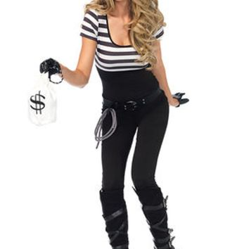 5PC.Bank Robbin' Bandit catsuit utility belt w/rope  gloves bag mask in BLACK/WHITE