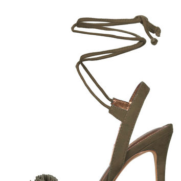 Liria Fringe Lace Up Heels (Olive)