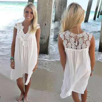 BOHO Sleeveless Womens Loose Summer Beach Lace Dress