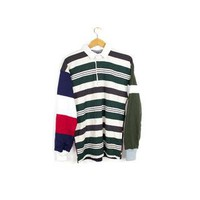 columbiaknit rugby polo shirt - long sleeves patchwork jersey - small