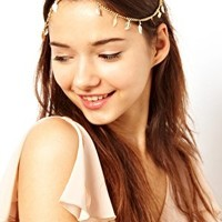 River Island Leaf And Cup Chain Stretch Head Band at asos.com