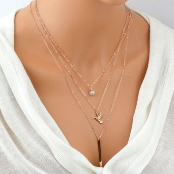 Three Layering Necklace / Bar Drop Necklace / Hummingbird Necklace / Set of 3 Necklace / Rose Gold Layered Necklace