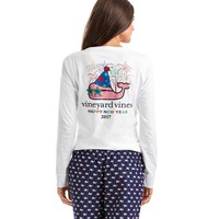 Long-Sleeve Happy New Year Whale Pocket Tee