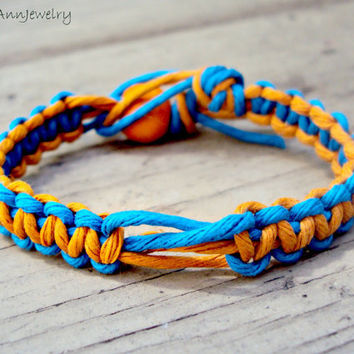 15% off CIJ SALE HEMP Bracelet Blue and Orange For Men and For Women