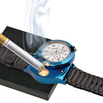 Unisex New Fasion USB Rechargeable Men's Quartz Watches Lighter No Gas Cigarette Lighter Gift for Smoker Flameless Lighter