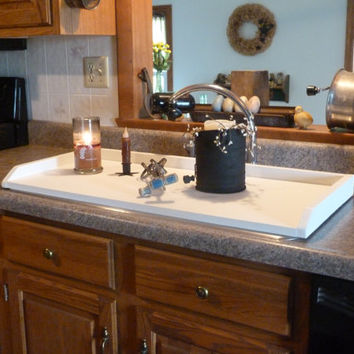 White Sink Cover, Country Kitchen Tray, Wooden Tray, Stove Top Cover,  Noodle Board, Stove Top Cover, Space Saver